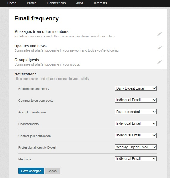 LinkedIn Notifications and Messages
